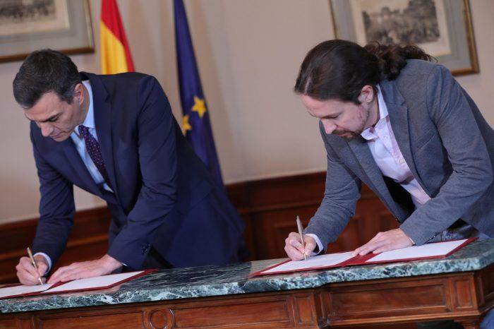 Socialistas y Unidas Podemos firman preacuerdo para formar el primer gobierno de coalición en España