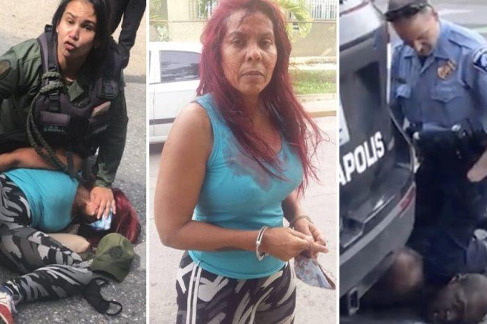 Brutal abuso de una militar de Maduro contra una civil, genera comparaciones con el caso de George Floyd