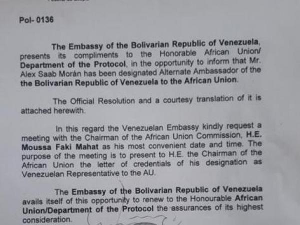 Oficio en el que se asciende el estatus diplomático de Alex Saab. Foto: El Tiempo.