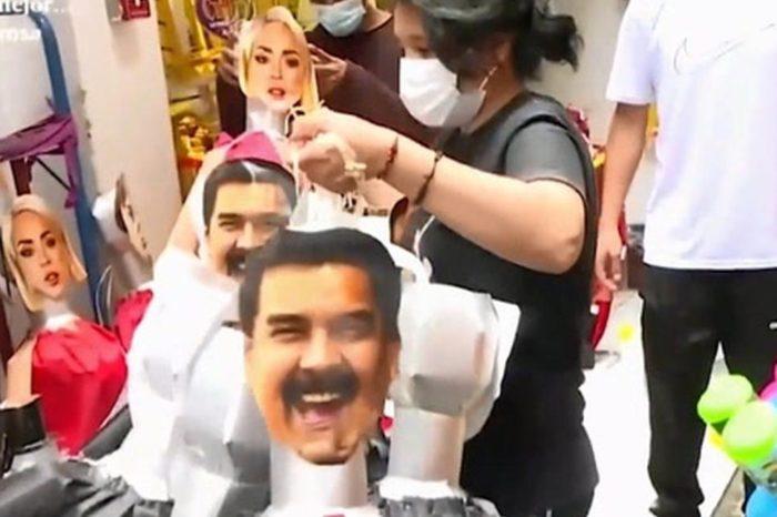 Piñatas de Nicolás Maduro para que venezolanos despidan el año en Perú