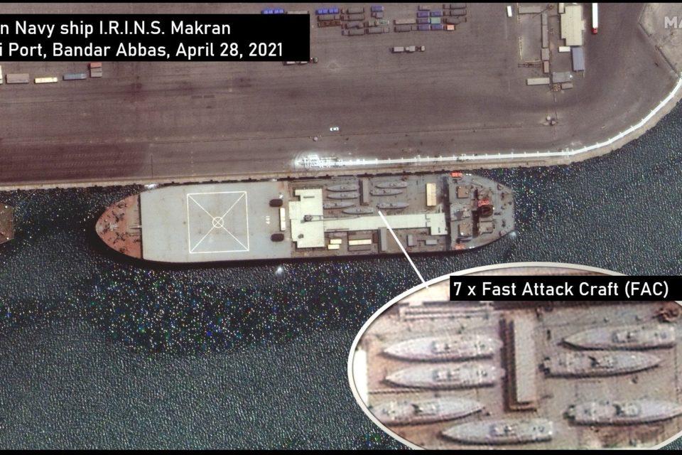Foto satelital revela la carga del barco militar iraní rumbo a Venezuela