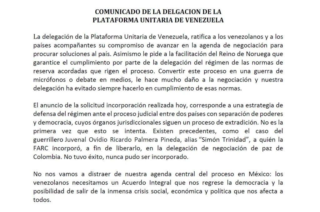 asi-respondio-la-delegacion-opositora-a-la-incorporacion-de-alex-saab-a-dialogos-de-mexico